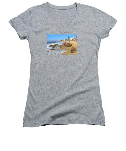 Puerto Vallarta Beachfront Women's V-Neck T-Shirt (Junior Cut)