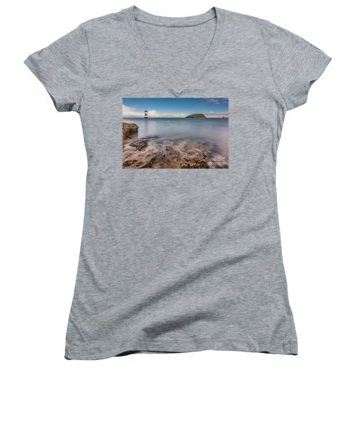Puffin Island Lighthouse  Women's V-Neck (Athletic Fit)