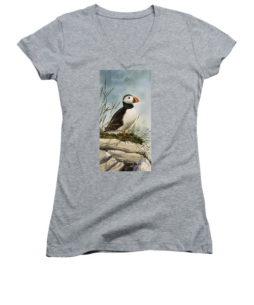 Puffin Women's V-Neck (Athletic Fit)