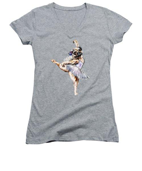 Pug Ballerina Dog Women's V-Neck T-Shirt