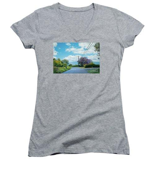 Pulehuiki Road Upcountry Kula Maui Hawaii Women's V-Neck T-Shirt (Junior Cut) by Sharon Mau