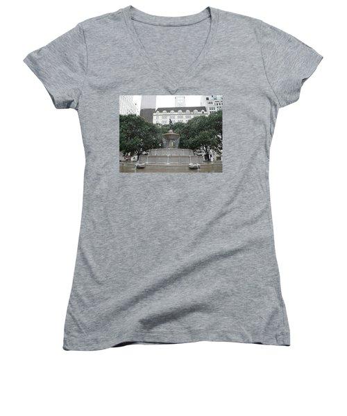 Pulitzer Fountain Women's V-Neck T-Shirt (Junior Cut) by Valerie Ornstein