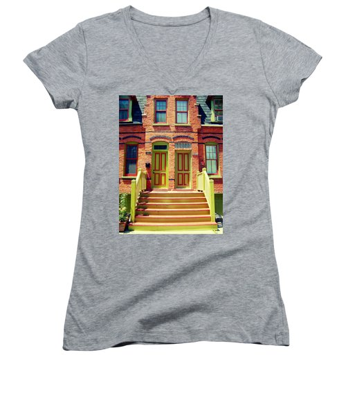 Pullman National Monument Row House Women's V-Neck (Athletic Fit)
