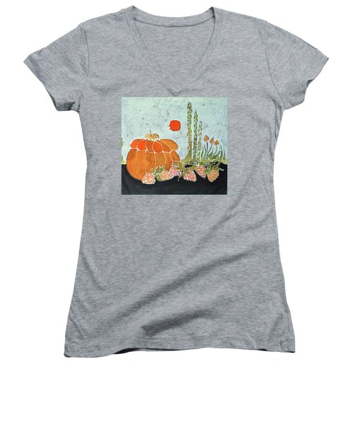Pumpkin And Asparagus Women's V-Neck (Athletic Fit)