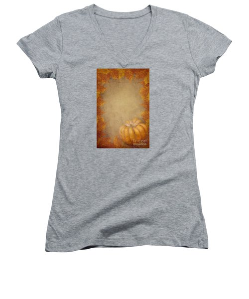 Pumpkin And Maple Leaves Women's V-Neck