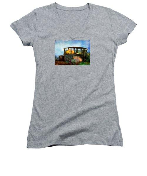 Pumpkin Harvest Respite Women's V-Neck T-Shirt (Junior Cut) by Colleen Taylor