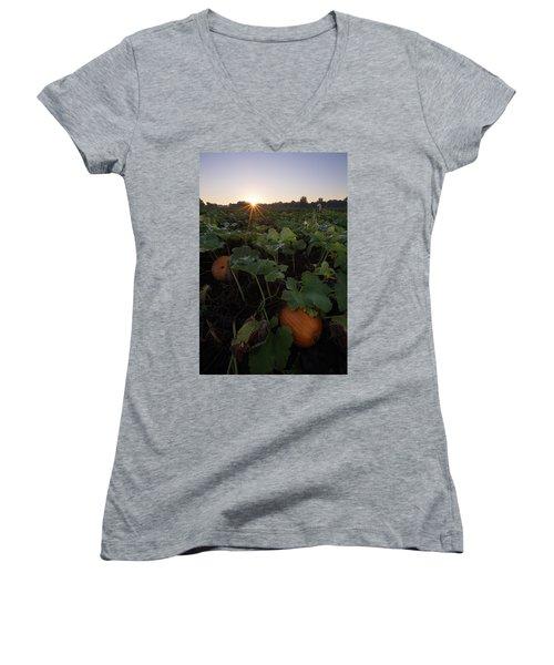 Women's V-Neck T-Shirt (Junior Cut) featuring the photograph Pumpkin Patch by Aaron J Groen