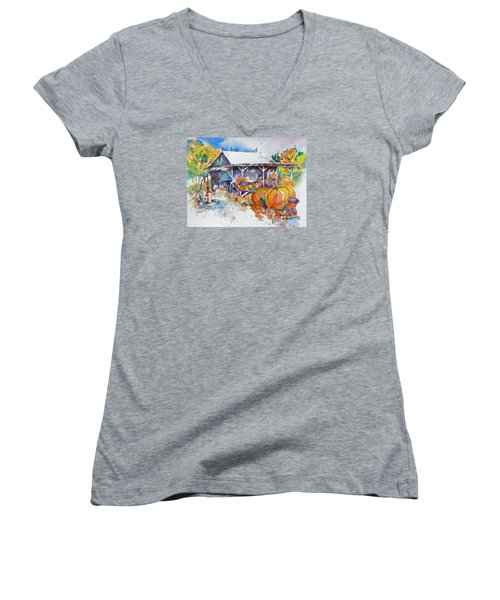 Pumpkin Time Women's V-Neck T-Shirt