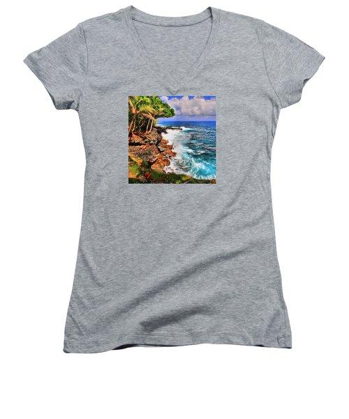 Women's V-Neck T-Shirt (Junior Cut) featuring the photograph Puna Coast Hawaii by DJ Florek
