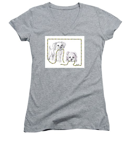 Puppies Greeting Card Women's V-Neck (Athletic Fit)