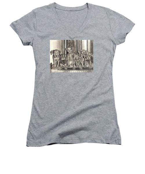 Puppies  Women's V-Neck T-Shirt