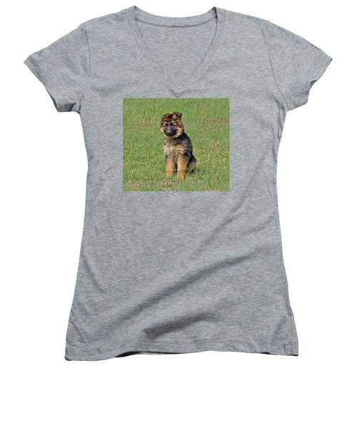 Women's V-Neck T-Shirt (Junior Cut) featuring the photograph Puppy Halo by Sandy Keeton