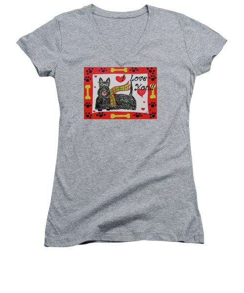 Puppy Love Women's V-Neck T-Shirt (Junior Cut)
