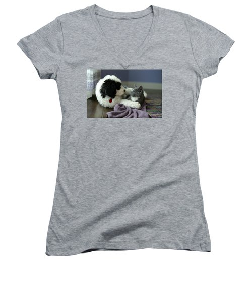 Women's V-Neck T-Shirt (Junior Cut) featuring the photograph Puppy Love by Linda Mishler