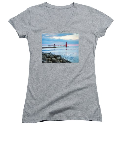 Women's V-Neck T-Shirt (Junior Cut) featuring the photograph Pure Algoma by Bill Pevlor