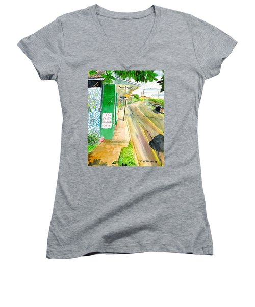 Women's V-Neck T-Shirt (Junior Cut) featuring the painting Pure Hawaiian by Eric Samuelson