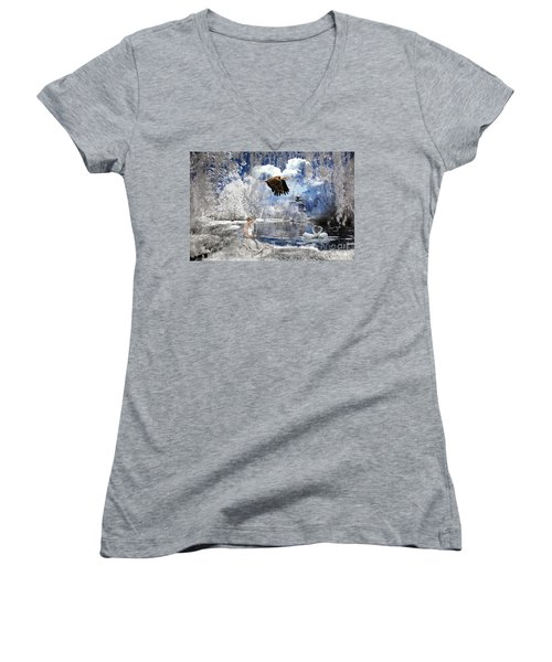 Pure Hearted Warrior Women's V-Neck T-Shirt (Junior Cut) by Dolores Develde