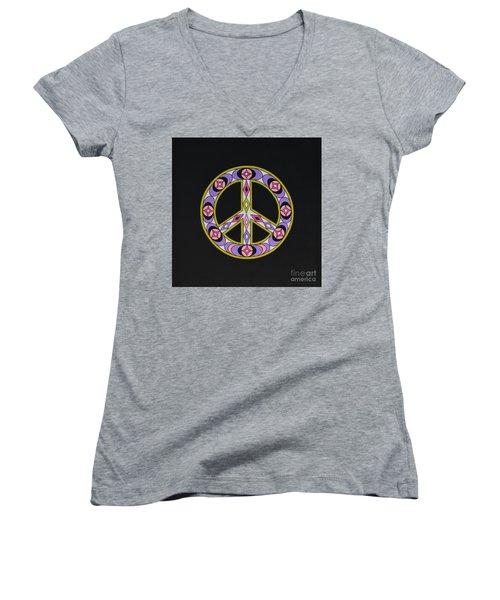 Pure Peace Women's V-Neck T-Shirt (Junior Cut) by Joseph Sonday