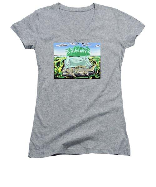 Purgatorium Praedator Women's V-Neck T-Shirt (Junior Cut) by Ryan Demaree