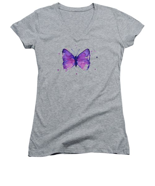 Purple Abstract Butterfly Women's V-Neck (Athletic Fit)