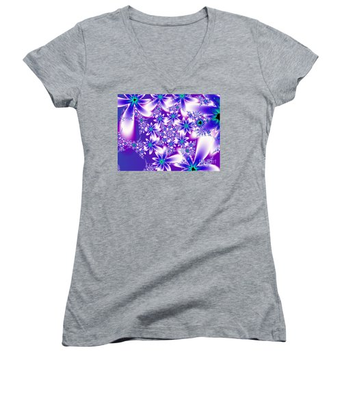 Purple And Blue Fractal Flowers Women's V-Neck