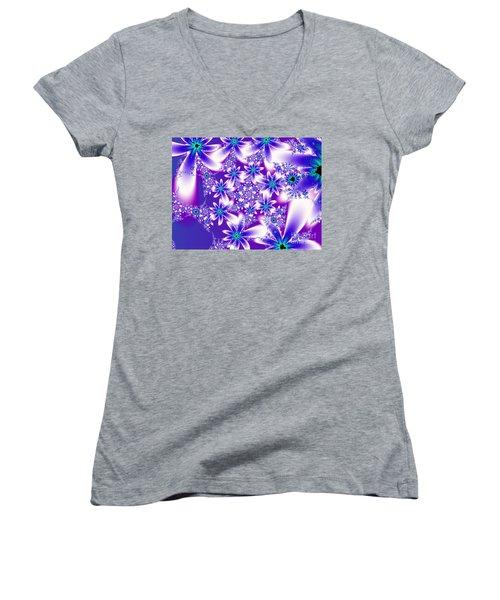 Purple And Blue Fractal Flowers Women's V-Neck