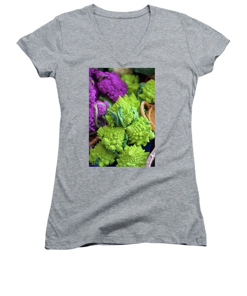 Purple And Romanesco Cauliflower Women's V-Neck (Athletic Fit)