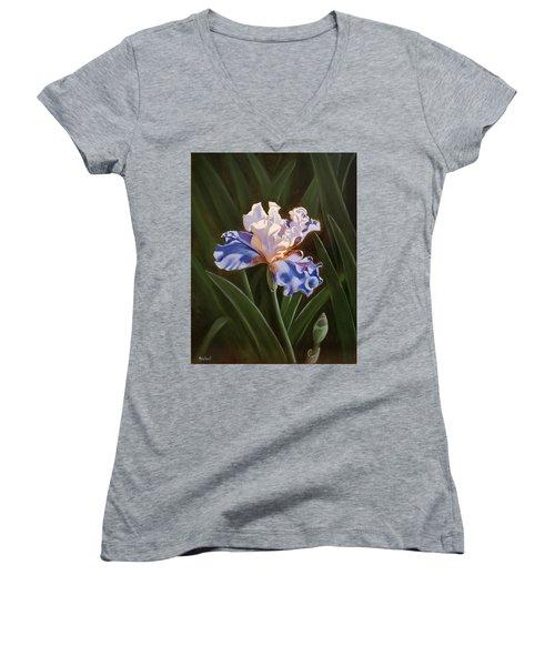 Purple And White Iris Women's V-Neck