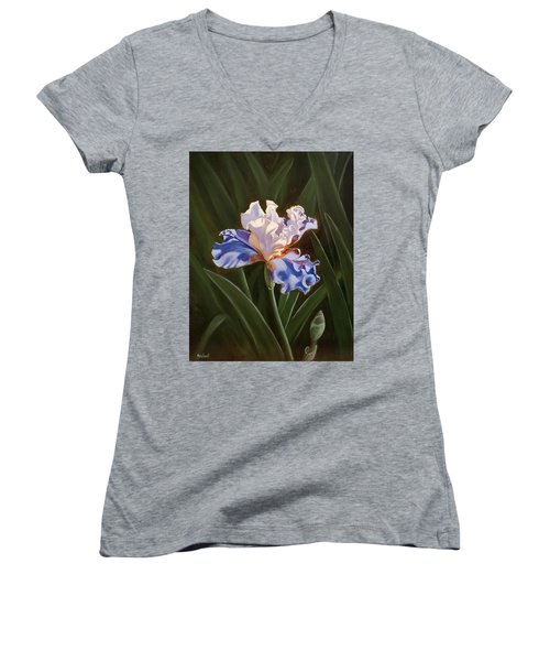 Purple And White Iris Women's V-Neck (Athletic Fit)