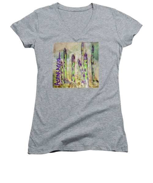 Women's V-Neck T-Shirt (Junior Cut) featuring the painting Purple Asparagus by Kim Nelson