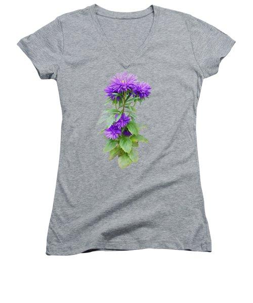 Purple Aster Women's V-Neck T-Shirt (Junior Cut) by Ivana
