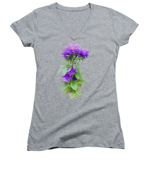 Women's V-Neck featuring the painting Purple Aster by Ivana