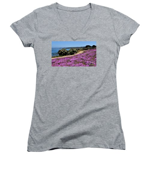 Purple Carpet Women's V-Neck T-Shirt (Junior Cut) by Gina Savage
