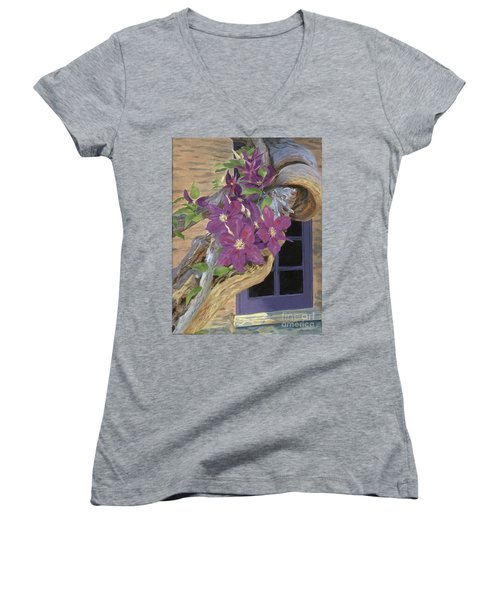 Purple Clematis Women's V-Neck