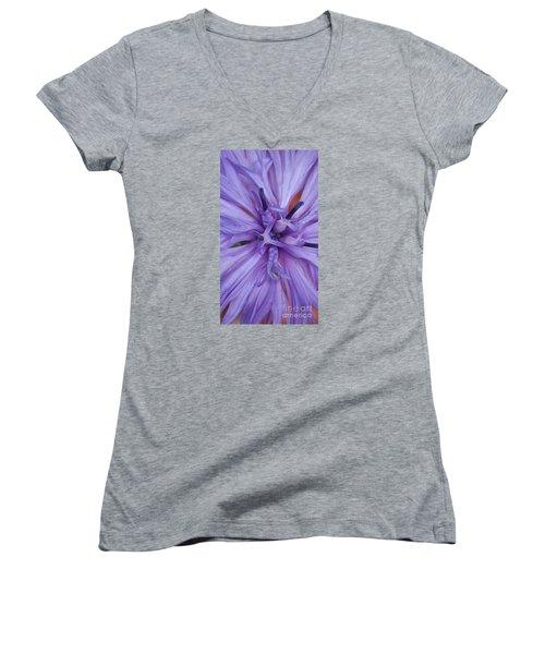 Purple Colorado Wildflower In Macro Women's V-Neck (Athletic Fit)