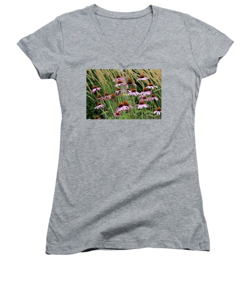Purple Coneflowers Women's V-Neck