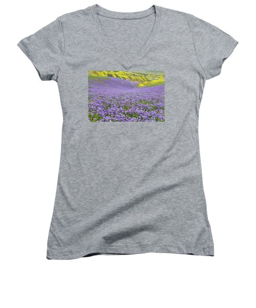 Women's V-Neck T-Shirt (Junior Cut) featuring the photograph Purple  Covered Hillside by Marc Crumpler