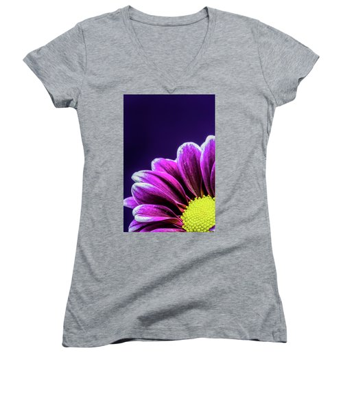 Purple Daisy Being Shy Women's V-Neck (Athletic Fit)