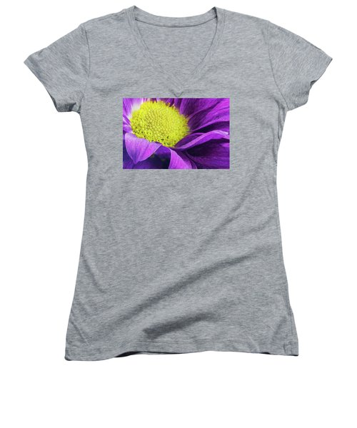 Purple Daisy In The Garden Women's V-Neck (Athletic Fit)