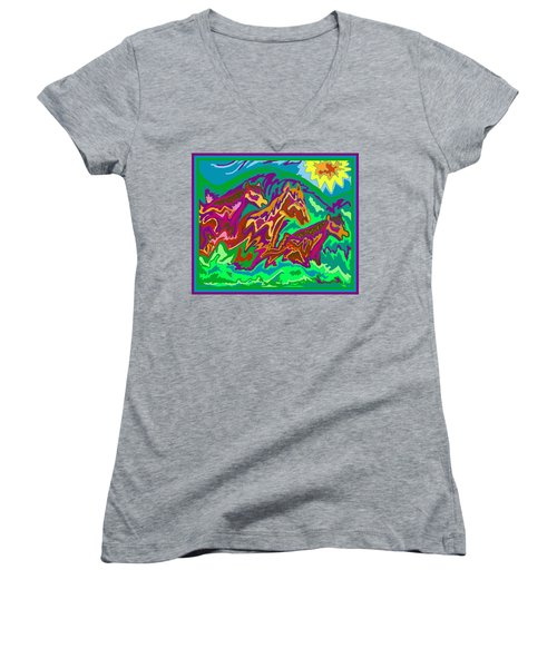 Purple Feathered Horses Women's V-Neck