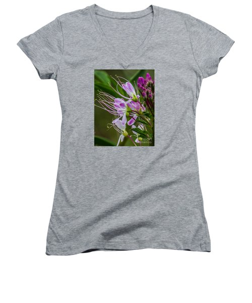 Purple Flower 6 Women's V-Neck (Athletic Fit)