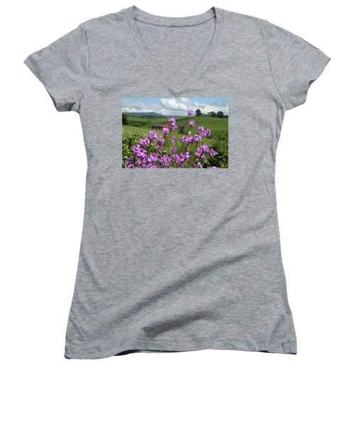 Purple Flower In Landscape Women's V-Neck T-Shirt (Junior Cut) by Emanuel Tanjala