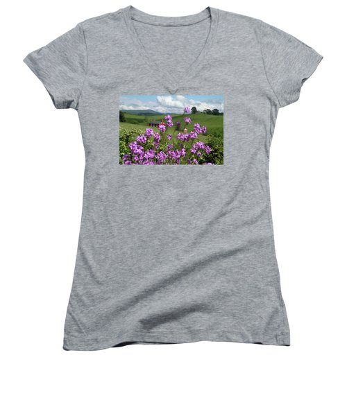 Purple Flower In Landscape Women's V-Neck