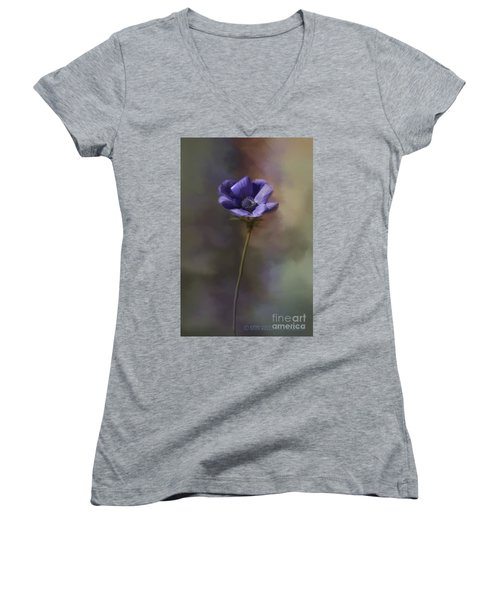 Purple Flower Women's V-Neck (Athletic Fit)