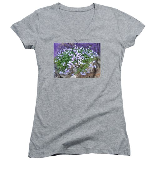 Purple Flower Textured Photo 1028b Women's V-Neck