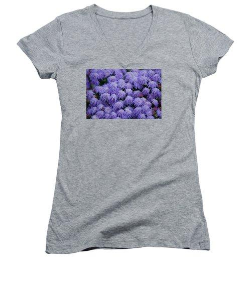 Purple Flowers Women's V-Neck