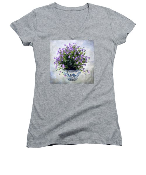 Women's V-Neck T-Shirt (Junior Cut) featuring the photograph Purple Flowers In Pot by Catherine Lau