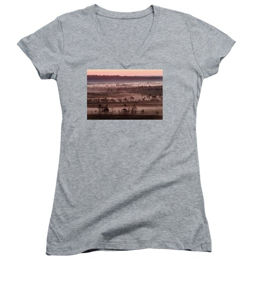 Purple Fog On Swamp Women's V-Neck T-Shirt (Junior Cut) by Teemu Tretjakov