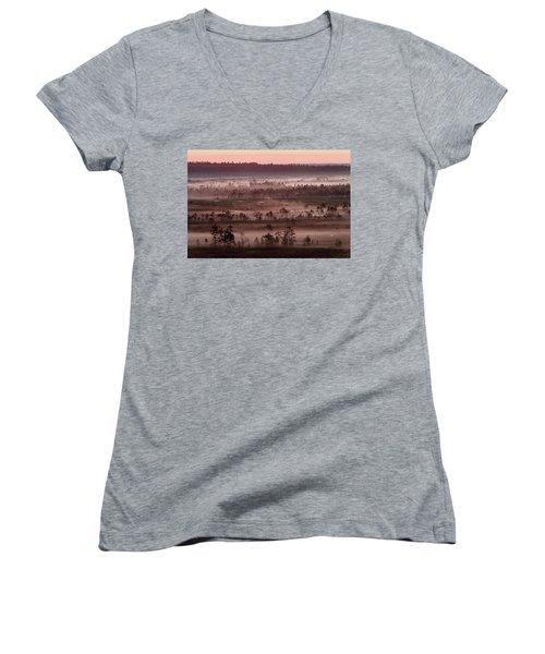 Purple Fog On Swamp Women's V-Neck T-Shirt