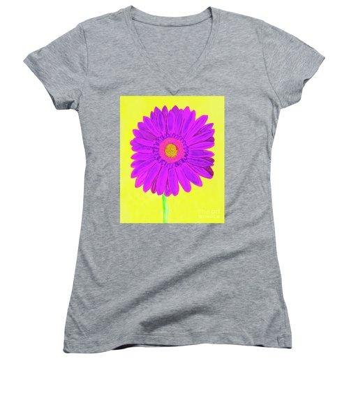 Purple  Gerbera On Yellow, Watercolor Women's V-Neck T-Shirt (Junior Cut) by Irina Afonskaya
